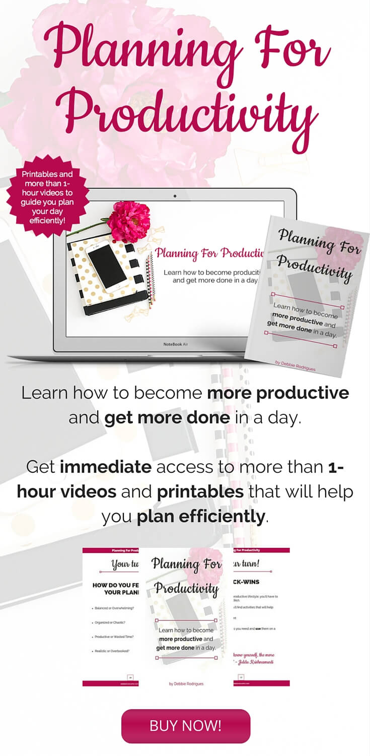 Learn how to become more productive and get more done in a day with Planning For Productivity. More than 1 hour of videos and a workbook to guide you through.