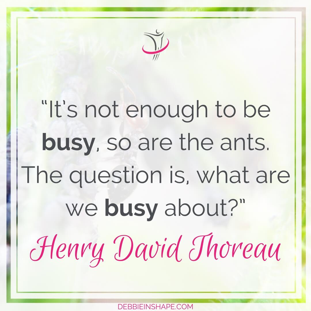 """It's not enough to be busy, so are the ants. The question is, what are we busy about?"" Henry David Thoreau"