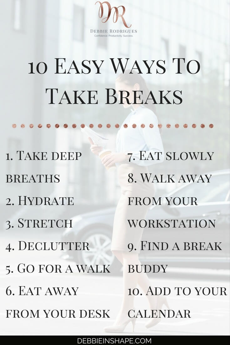 How to take breaks at work the easy way. Because pauses can help you improve your efficiency a lot more than you think. Incorporate them in your routine with these tips and others you find exclusively on the 52-Week Challenge For A More Productive You. Join it today for accountability, support, and motivation. #productivity #confidence #success #lifestyle #health