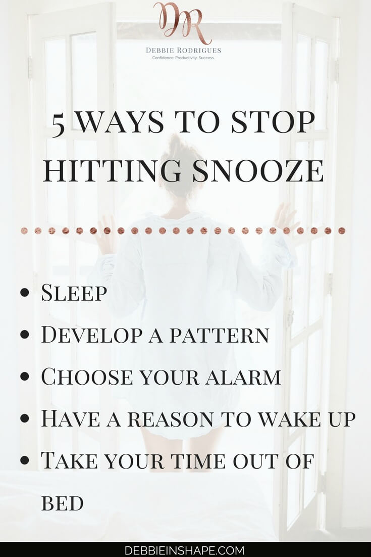 Learn how to stop hitting snooze in 5 ways. Create space in your schedule and boost your morning routine to achieve more every day. Come over to the 52-Week Challenge For A More Productive You today! Access all the information and support to be more successful. #productivity #confidence #success #health #lifestyle