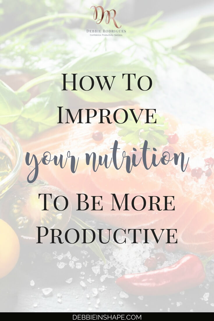 Did you know that your diet can support or kill your productivity? Learn how you can improve your nutrition to become more productive. Join the 52-Week Challenge For A More Productive You and get all the support, motivation, and accountability you need to boost your lifestyle one day at a time. #productivity #confidence #success #health #healthyfood