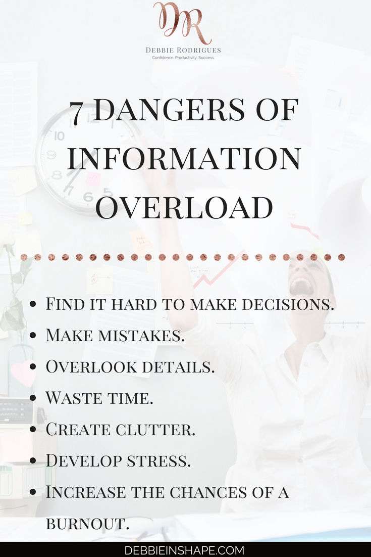 Avoid these infobesity dangers to be more productive. Also learn how you can deal with information overload today with 10 practical steps. Join the 52-Week Challenge For A More Productive You and start improving your efficiency one day at a time. #productivity #confidence #success #journaling #mentalhealth