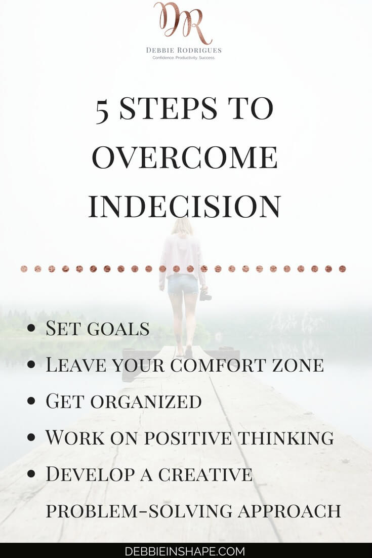 Learn how to be more productive by overcoming indecision. Read more about each step on the blog. And to get all the support, motivation, and accountability you need to boost your efficiency, come to the 52-Week Challenge For A More Productive You. #productivity #confidence #success #journaling #mentalhealth