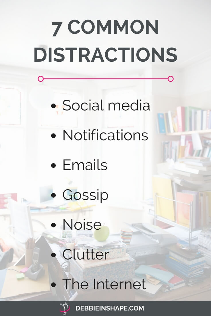 Why you need to get rid of distractions to be successful. There isn't a magic pill that makes diversions go away, but you can manage them one day at a time to boost your efficiency. Learn very easy steps to deal with each of the common distractions on the blog. And if you're looking for extra support and accountability, join the 52-Week Challenge For A More Productive You. It's FREE. You don't want to miss it!