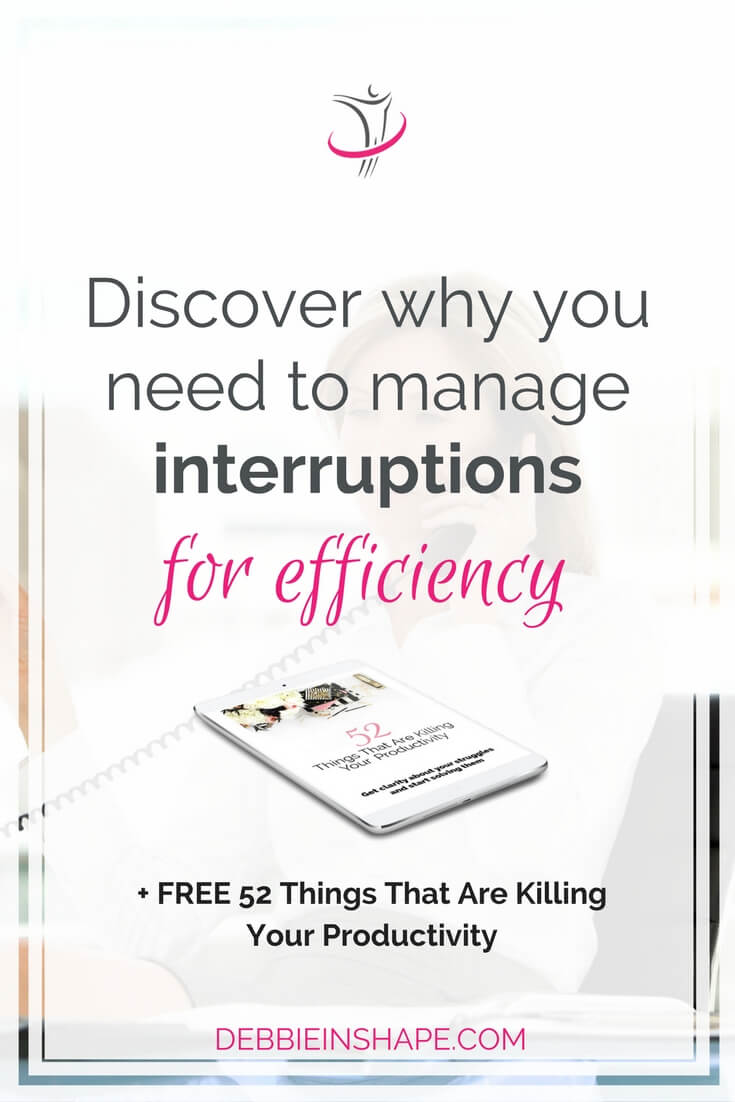 Like distractions, you must manage interruptions for efficiency. It isn't a piece of cake, but it's totally worth investing in it. Start with the 3 tips I share on the blog and start seeing results today. To make sure you stay on track and motivated, join the 52-Week Challenge For A More Productive You. Read all about it on the blog.
