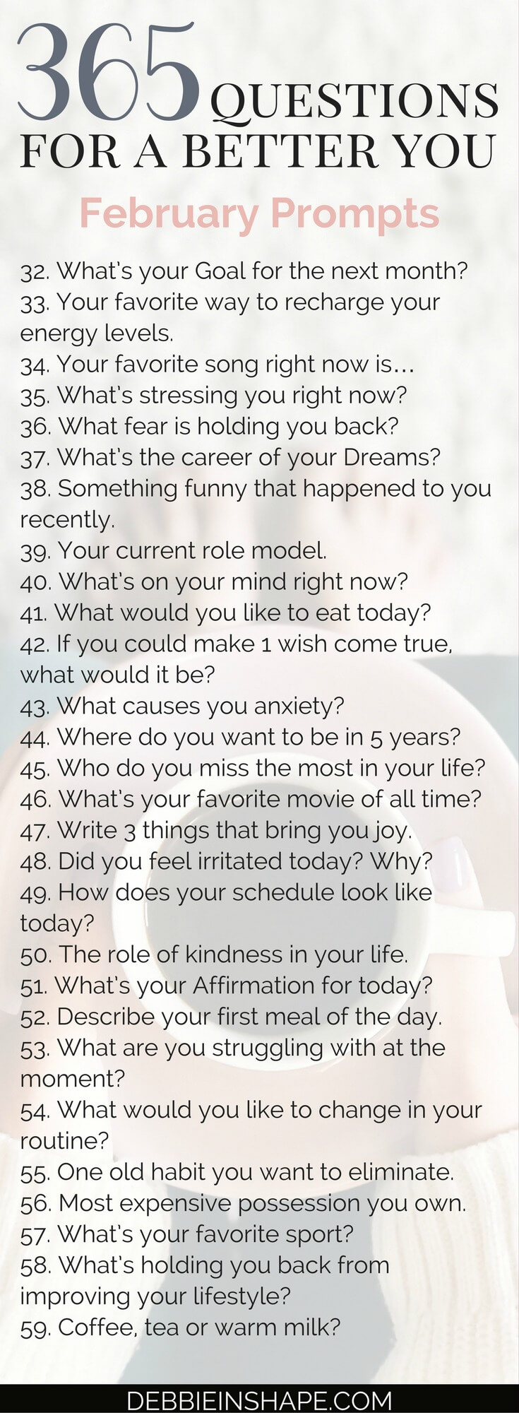 And it's already time for the 365 Questions For A Better You the February edition. Let's continue reflecting about ourselves to grow and improve. Learn how to become a better version of yourself one day at a time by joining the Facebook group #PlanWithDebbie for support, accountability, and motivation. #productivity #confidence #success #personaldevelopment #journaling #prompts #365questionsforabetteryou