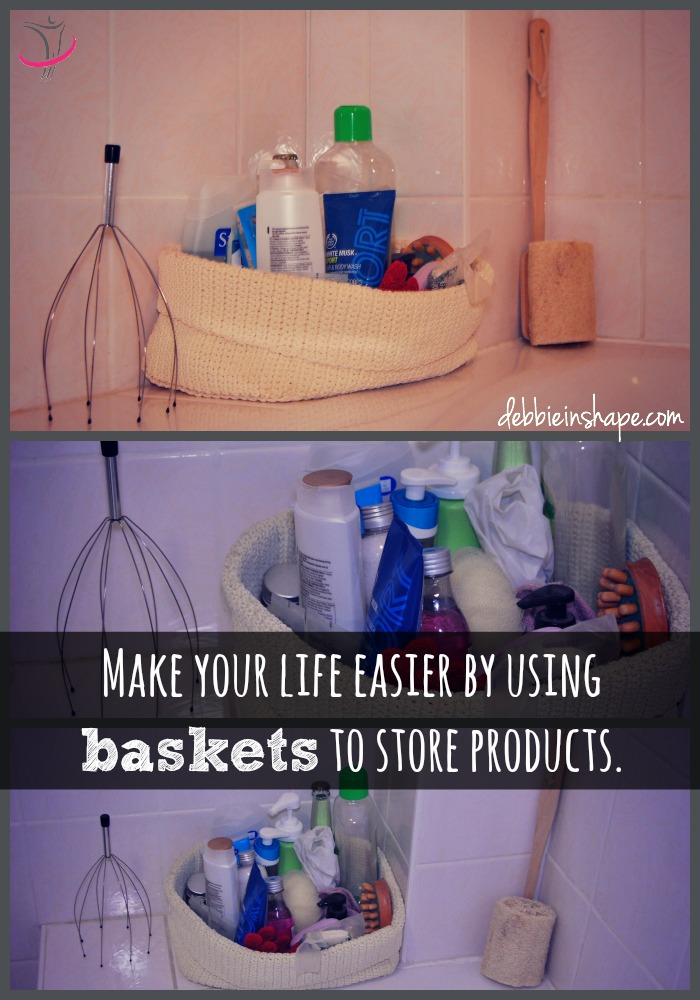 Baskets are handy ways to keep everything you need in one place. Check the blog for other organization ideas.