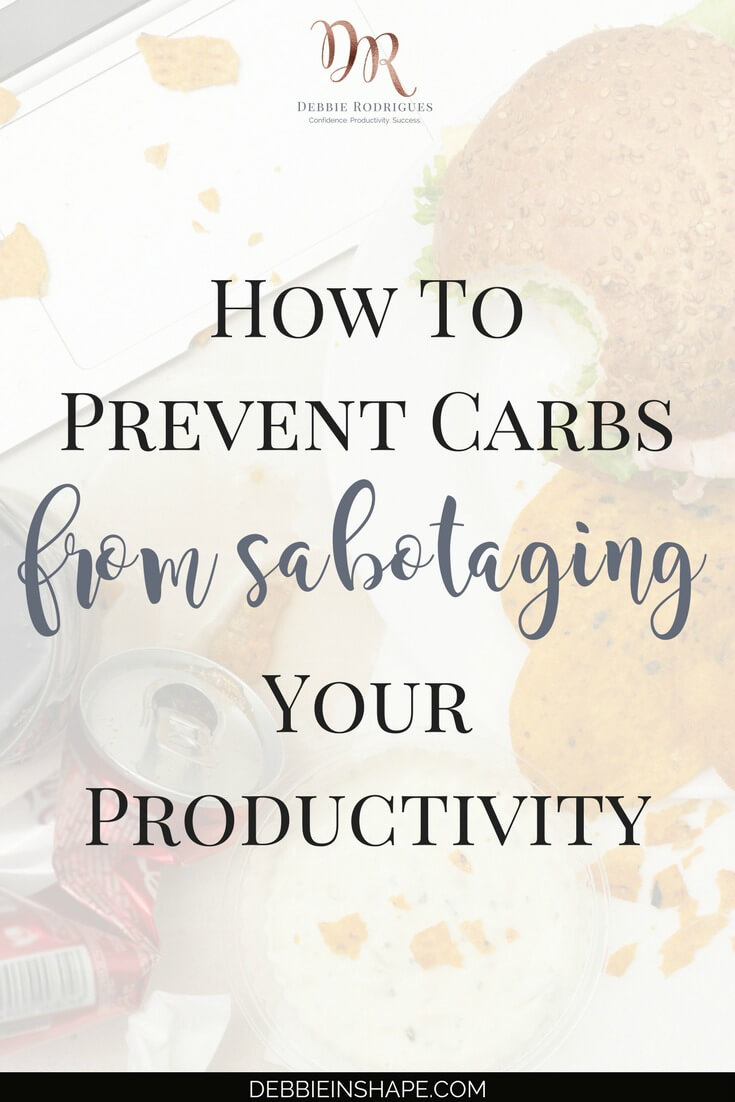 Learn why carbs and productivity aren't a good combo. Discover 3 ways you can eat right to boost your efficiency. Come to the 52-Week Challenge For A More Productive You and get all the support you need to create space in your schedule for the thing you love one day at a time without stress. #productivity #confidence #success #health #weightloss