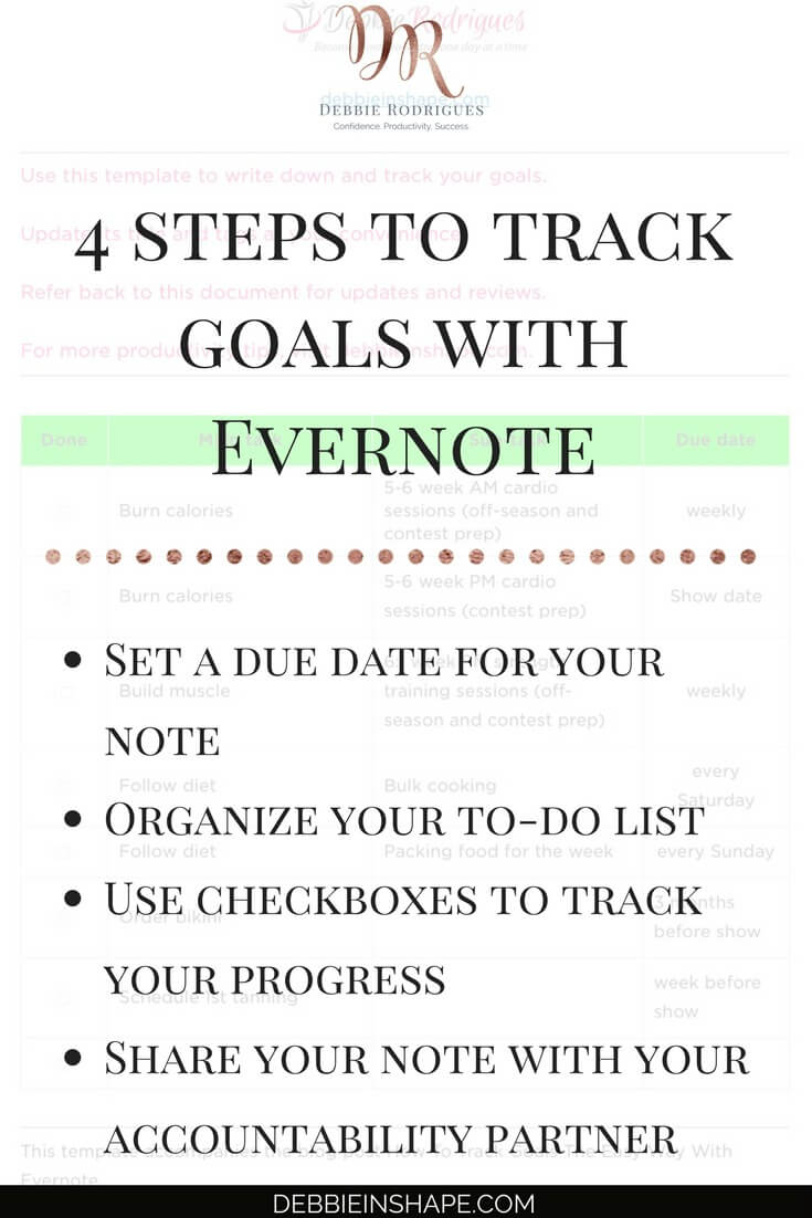 Find out how to use Evernote to increase your productivity. Achieve your goals one day at a time without stress. Need help to stay on track? Join the 52-Week Challenge For A More Productive You for accountability, motivation, and support. #productivity #confidence #success #goals #evernote