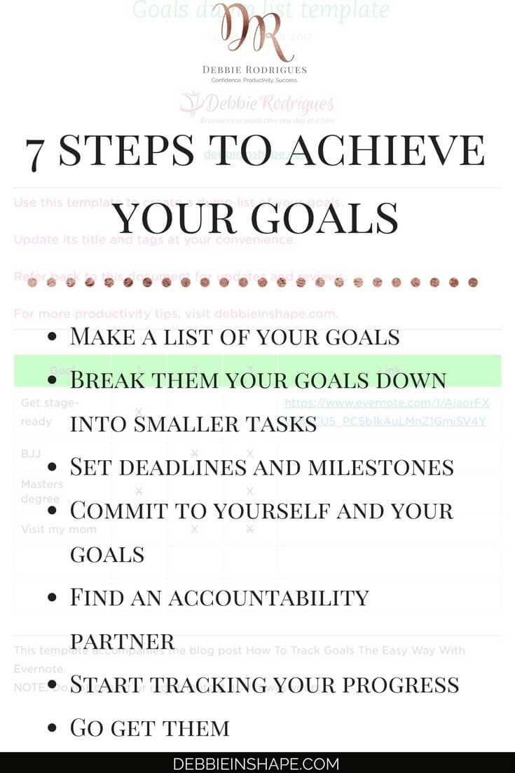 How to achieve your dreams by tracking your goals with Evernote. Come to the  52-Week Challenge For A More Productive You and get all the support and motivation you need to be successful one day at a time without stress. #productivity #confidence #success #goals #evernote