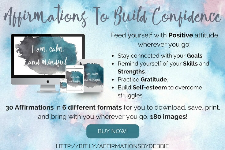 Recharge your energy levels and stay motivated on the go with Affirmations To Build Confidence. 30 downloadable affirmations in 6 different formats you can print or save to bring along with you all the time. Feed yourself with a Positive Attitude to boost your Self-esteem and achieve your Goals. The inspirational push you've been waiting for!