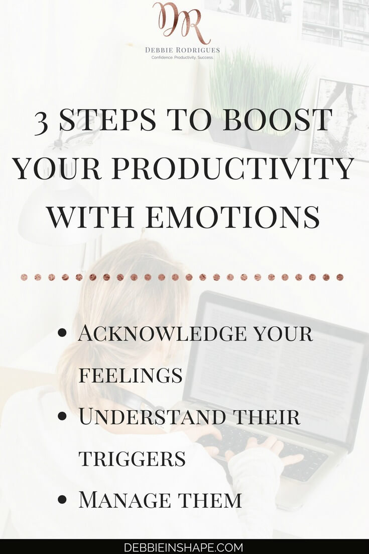 How to use emotions to be more productive. Discover how you can create space in your schedule by managing your feelings. Join the 52-Week Challenge For A More Productive You and get all the information and support you need to achieve your Goals one day at a time without stress. #productivity #confidence #success #journaling #emotions