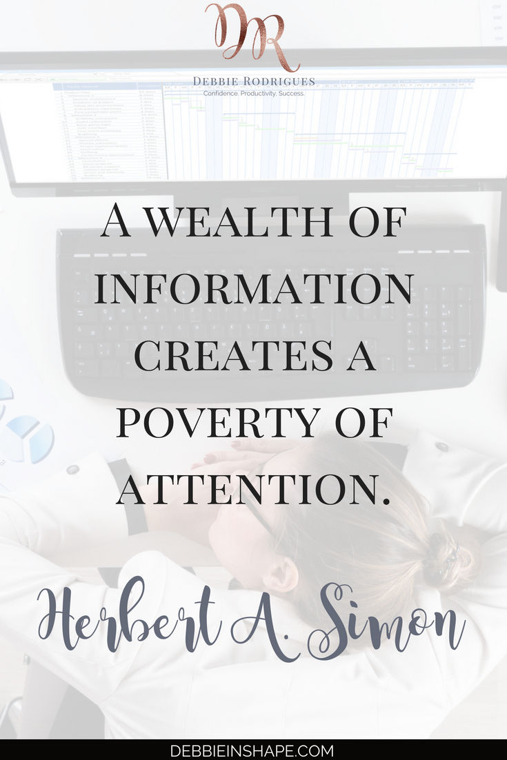 Discover why you have to focus to avoid information overload. Check out 10 practical steps you can implement today to be more productive without stress. Join the 52-Week Challenge For A More Productive You and learn to achieve more one day at a time. #productivity #confidence #success #journaling #mentalhealth #quote