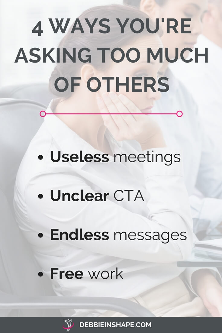 Discover how to stop asking too much of others to be more productive. Find out more about the 4 ways you might be over-delegating. Learn how to break the cycle and become more efficient one day at time by overcoming other not-so-obvious productivity killers.