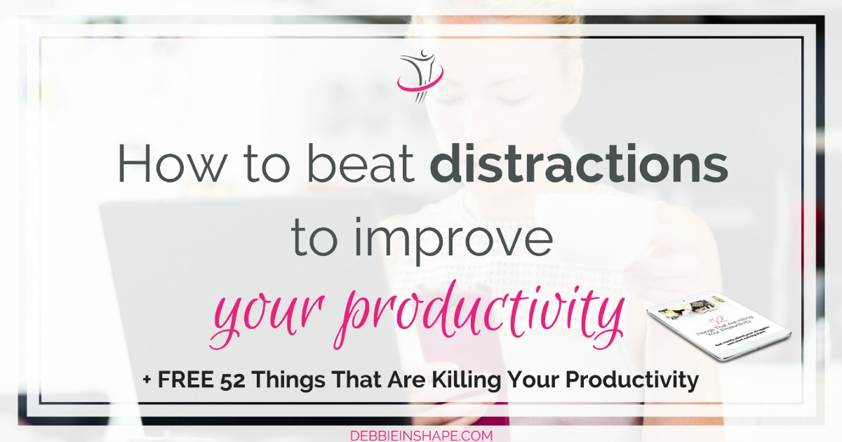 Learn how to beat distractions to avoid procrastination and improve your productivity. Check my 7 easy practical tips on the blog today. Don't beat yourself up for things you can't control, but take the time to change what you can. If you're looking for accountability and support, join the 52-Week Challenge For A More Productive You FOR FREE.