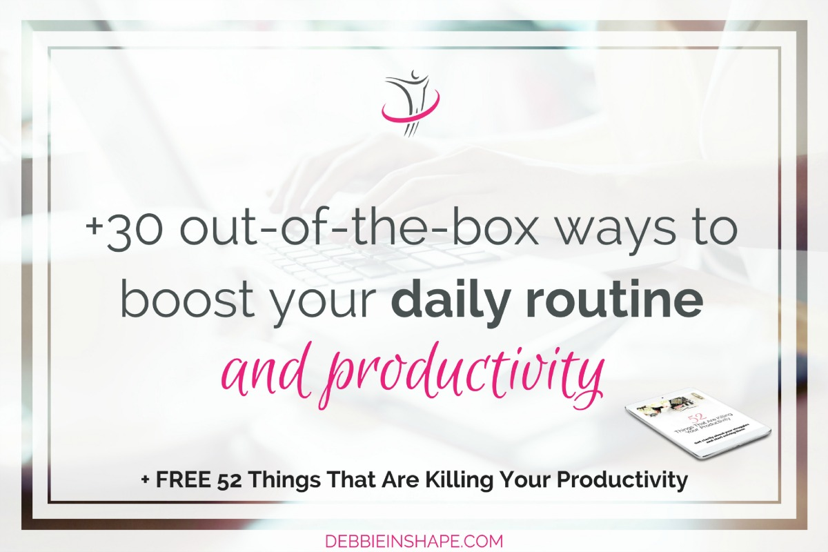 If you want to boost your daily routine and productivity, you must think out-of-the-box. Check the 33 tips I put together for you on the blog and make it happen. Have in mind that a strong routine isn't a prison, but a structured way towards success. If you need help to organize yourself and find balance, come on over to our challenge today.