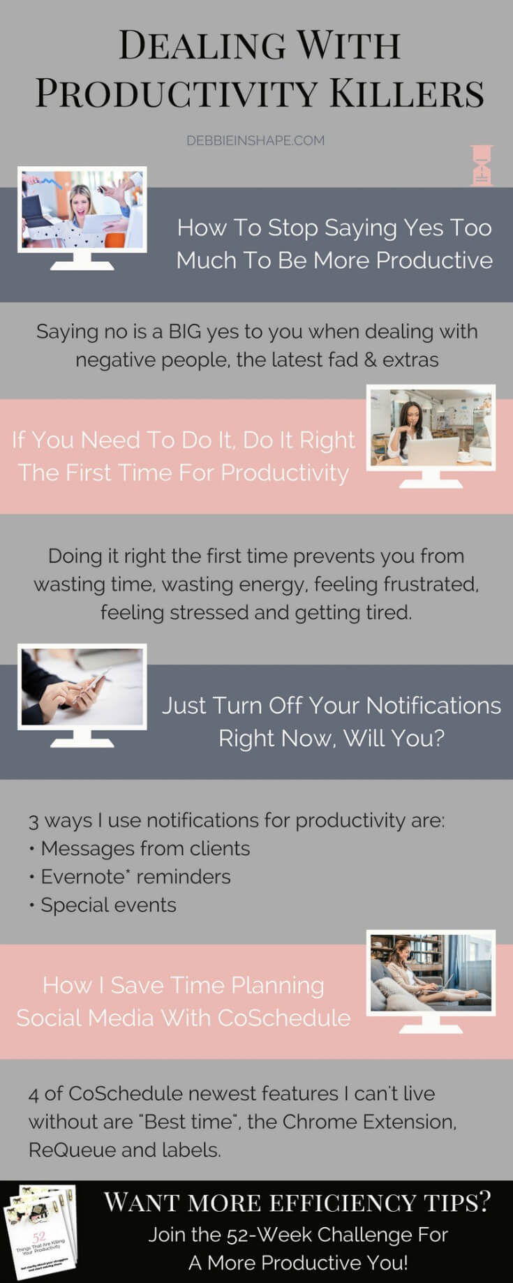 Be a productivity ninja with these super easy tips. Why fighting efficiency killers when you can use them to your favor? Find out how I take control of distractions like social media to overcome procrastination and get a lot done. Join the 52-Week Challenge For A More Productive You for daily prompts and to become part of an awesome community of like-minded achievers.