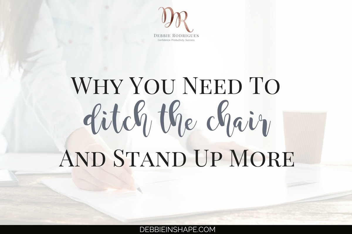 Do you know how to ditch the chair and stand up more? Find out how you can take advantage of it for productivity and health without breaking your budget. And if you're looking for accountability, please, join the 52-Week Challenge For A More Productive You. Overcome not-so-obvious efficiency killers one day at a time while managing stress. #productivity #confidence #success #health #lifestyle