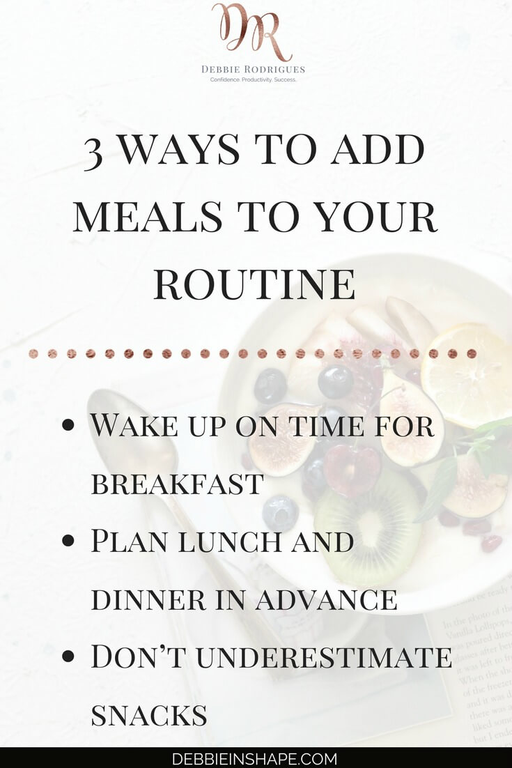 How to add meals to your routine to boost your efficiency. Improve your health and productivity one day at a time by fueling your body properly. Join the 52-Week Challenge For A More Productive You today to get all the guidance, support, and motivation you need to achieve your Goals. #productivity #confidence #success #lifestyle #meals