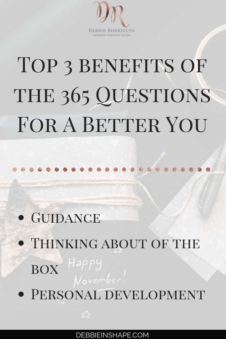 How to benefit of journaling to improve. Learn more about yourself and develop your skills with the 365 Questions For A Better You. #productivity #confidence #success #personaldevelopment #journaling #prompts #365questionsforabetteryou